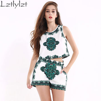 lztlylzt 2 Piece Set Women Green Vintage Print Fashion Crop Top And Shorts Set 2016 Summer Women Two Piece Set Clothing