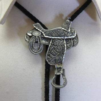 1980s Fancy Pewter Western Saddle Bolo Tie, Diamond Cutting, Exquisite Work