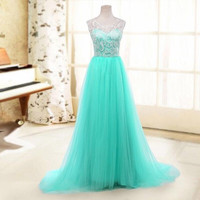 A-line Scoop Sleeveless Lace Prom Wedding Gown Blue Tulle Bridesmaid Dresses