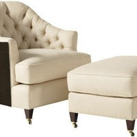 Michigan Design Center - Baker - Round Back Tufted Club Chair
