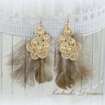 Creamy Earrings With Soft Feathers, Bridal Soutache Earrings, Dangle Soutache Earrings ,Beaded Earrings, Original Earrings, Gift for Her