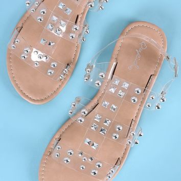 Qupid Silver Studded Strappy Slingback Flat Sandal