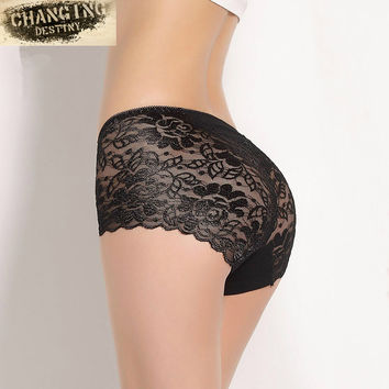 M-XXXL Women Underwear Briefs Transparent Lace Middle-Waisted Seamless Large String Plus Size Female Sexy Triangle Panties