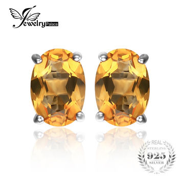 JewelryPalace Oval 1.4ct Natural Citrine Birthstone Stud Earrings Solid 925 Sterling Silver 2016 New Fine Jewelry For Women