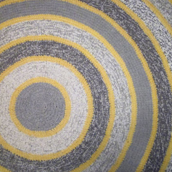 Round Crochet Rug Grey Yellow Rug Home Decor Bedroom Rug Kitchen Rug Livingroom Rug  63""