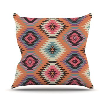 "Amanda Lane ""Southwestern Dreams"" Orange Pink Throw Pillow"