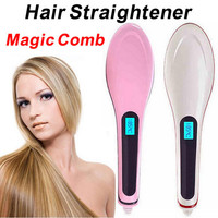 2015 Xmas Gift Magic Comb Hair Straightener Brush Electronic Straightening Iron LCD Display Temprature Adjustable Combs
