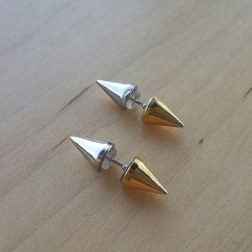 Gold & silver double sided spike stud earrings/10mm/cone shaped/metal studs