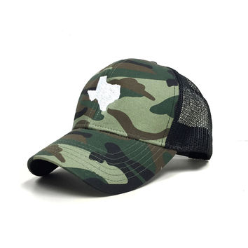 Dark Woodland Camo Texas Trucker Hat