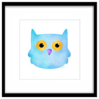 Cute Blue Owl Nursery Download, Printable Poster, Kid's Art, Baby's Room