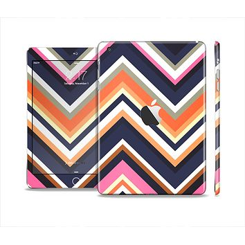 The Solid Pink & Blue Colored Chevron Pattern Skin Set for the Apple iPad Mini 4