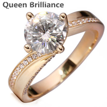 Queen Brilliance 2 Carat ct F Color Engagement Wedding Lab Grown Moissanite Diamond Ring For Women Solid 14K 585 Yellow Gold
