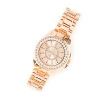 Rose Gold Boyfriend Watch with Rhinestone Bezel Under Glass