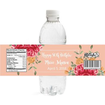 Floral Birthday Water Bottle Labels