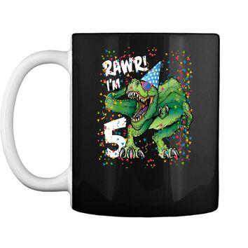 Kids Rawr Im 5 5th Birthday Dinosaur Shirts Boys Dinosaur Gift Mug