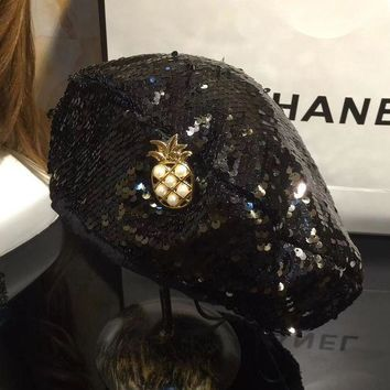 PEAPON CHANEL Women Pineapple Sequins Hat Cap Beret