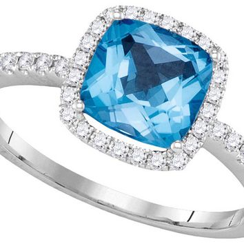 14kt White Gold Womens Cushion Blue Topaz Solitaire Diamond Halo Slender Ring 2.00 Cttw