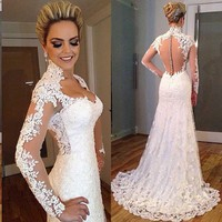 Romantic Long Lace Wedding Dress Sweetheart Long Sleeve Court Train Mermaid Wedding Dresses Gowns Vestido de noiva