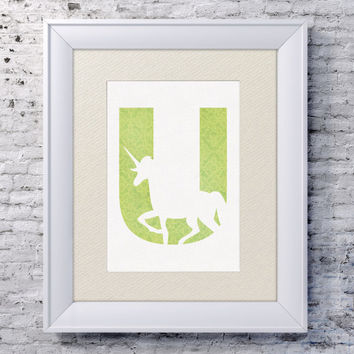 5x7 Alphabet Print 'U is for Unicorn' - Animal Name Art - Baby Alphabet Print - Letter U - Unicorn Decor - Zoo Animal Print - Unicorn Print
