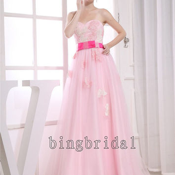 A-line Sweetheart Strapless Floor-length Satin Tulle appliques wedding dress