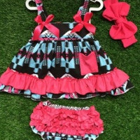 In Stock-  pink and navy aztec Swing top set
