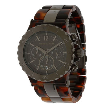 Michael Kors MK5501 Women's Tortoise Textured Plastic Grey Dial Chronograph Watch