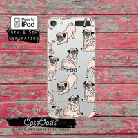 Pug Pattern Dog Funny Puppy Tumblr Cute Case for Clear Transparent Rubber iPod Touch 5th Generation Case 5th Gen iPod Touch 6th Gen iPod 6