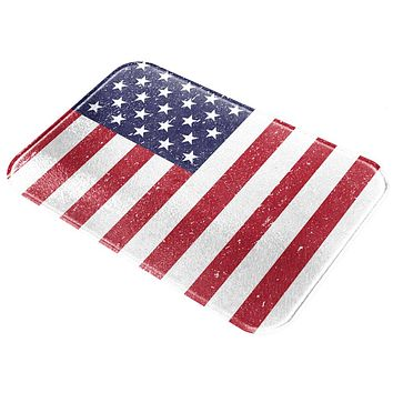 July 4th Distressed American Flag All Over Glass Cutting Board