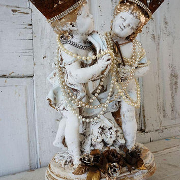 Cherub boy girl statue classic putti playing shabby French chic white distressed angel figures ornate crowns home decor anita spero design