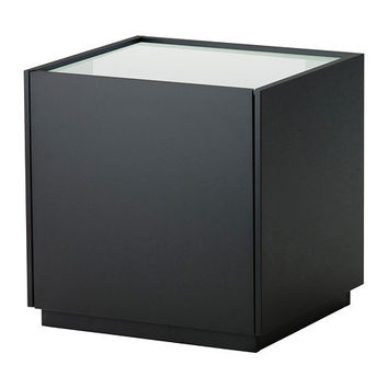 NYVOLL Nightstand - black/white - IKEA