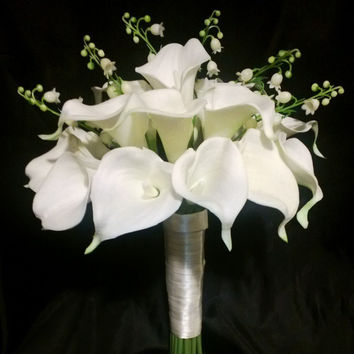 Real Touch Ivory White Calla Lily of the Valley Wedding Bouquet, White Wedding Flowers, Ivory White Bouquet Ivory Calla Lily Bridal Bouquet