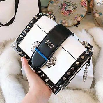 PRADA High Quality Fashionable Women Shopping Leather Shoulder Bag Rivet Crossbody Satchel White