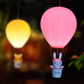 Kids Hot Air Balloon Night Light Rechargeable, LED, Wireless Wall Lamp- Pendant Light Accessory