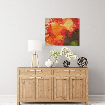 "Carol Schiff ""Orange Crush"" Orange Green Abstract Floral Painting Watercolor Birchwood Wall Art"