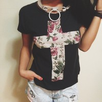 Floral cross shirt