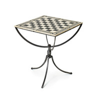 Nickel Plated Iron with Bone Inlaid Chess Table