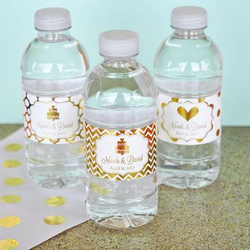 Personalized Metallic Foil Water Bottle Labels - Wedding (Set of 24)