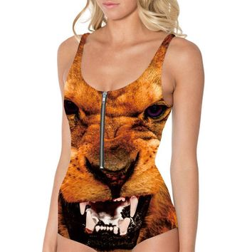 NEW 1057 Sexy Girl Summer Animal Fierce Lion King 3D Prints One-piece sleeveless Zipper Swimsuit Swimwear women bathing suit