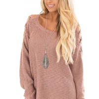 Dusty Pink Sweater with Lace Up Cold Shoulders