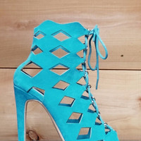 "Cape Robbin Heidi Turquoise Diamond Cut Open Toe Booty Shoes - 4"" Heels"
