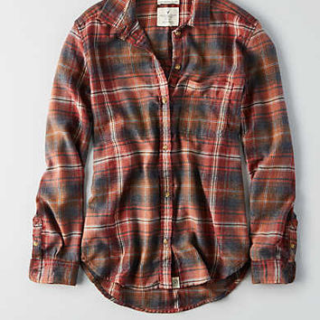 AEO Ahh-mazingly Soft Boyfriend Plaid Shirt , Red
