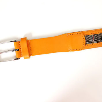 Vintage Etro Italian Leather Belt Orange & Tweed Plaid - Size Large