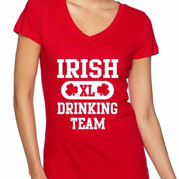 Irish drinking team women Sporty V Shirt  saint patricks day