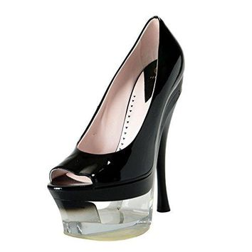 1bf6e2c9e0dc Versace Women s Black Patent Leather High Heel Platform Pumps Sh