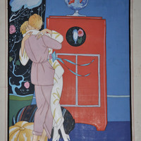 George Barbier Painting Boudior Lesbian Romance c 1920s Concept Painting For Unknown Publication Attributed to Barbier