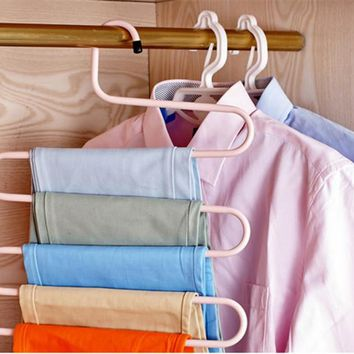 Hanger Clothes Hanger Rack Pants Hanger 5 Layer S Shape Trousers Holders Towels Clothes Apparel Hangers Space Saving