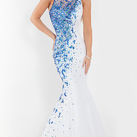 Long Beaded High Neck Mermaid Gown by Rachel Allan
