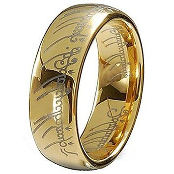 7mm Gold Plated Elvish Script Tungsten Carbide Unisex Laser-etched Wedding Ring Band (14k, 18k, 24k Yellow Gold)