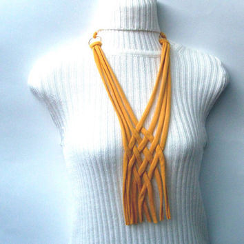 Mustard Cotton Jersey Scarf Necklace by krochetlady on Etsy
