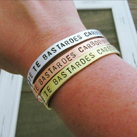 Nolite Te Bastardes Carborundorum Bracelet - Hand Stamped Jewelry - Don't Let The Bastards Grind You Down